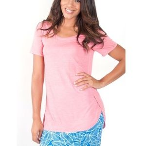 Solid Coral Pink Tunic Short Sleeve Tee Shirt